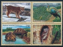 Endangered animals set in block of 4, Veszélyeztetett állatok sor négyestömbben