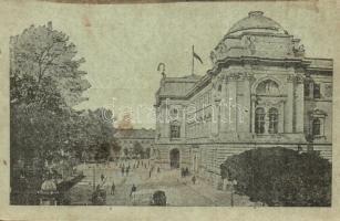 Lviv, Lwów, Lemberg; Gmach Sejmowy / town hall + K.u.K. Infanterieregiment Alfons XIII. König von Spanien No.