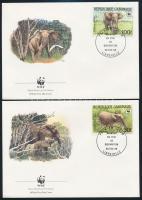 WWF: Erdei elefánt sor 4 db FDC-n WWF Forest elephants set 4 FDC