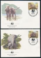 WWF: Elefánt sor 4 db FDC-n WWF: Elephant set on 4 FDC