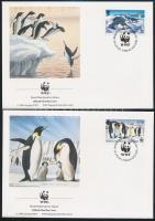 WWF: Seals and penguins on 4 FDC WWF: Fókák és pingvinek 4 érték 4 db FDC-n