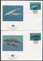 WWF: Bálna sor 4 db FDC-n WWF: Whale set on 4 FDC