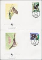 WWF: Pillangó sor 4 db FDC-n WWF: Butterfly set on 4 FDC
