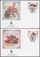 WWF: Coconut crab set on 4 FDC WWF: Pálmatolvaj sor 4 db FDC-n
