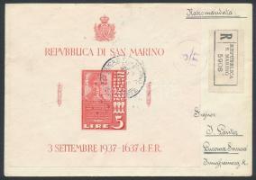 Cenzúrás ajánlott levél blokkal bérmentesítve Svájcba Mi block 3 on censored registered cover to Switzerland