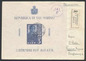 Cenzúrás ajánlott levél blokkal bérmentesítve Svájcba Mi block 2 on censored registered cover to Switzerland