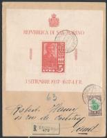 Ajánlott levél blokkal bérmentesítve Belgiumba Mi block 3 on registered cover to Belgium