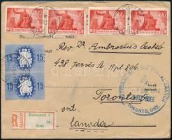 (7. díjszabás) Ajánlott levél Újjáépítés és Köztársaság bélyegekkel Kanadába Registered cover to Toronto