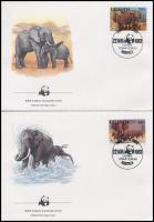 WWF: Afrikai elefánt sor 4 db FDC-n WWF: African Elephant set on 4 FDC