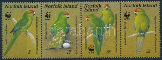 WWF Parrot stripe of 4 (gum distubance), WWF: Papagáj négyescsík (betapadás)