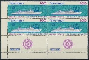 ",,Shalom"" cruise ship corner block of 4 with tab, ,,Shalom"" utasszállító hajó tabos ívsarki négyestömb"