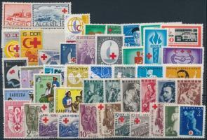 1944-1970 Red Cross 45 stamps, 1944-1970 Vöröskereszt motívum 45 db klf bélyeg, közte sorok, ívszéli értékek stecklapon