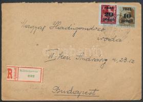 Inflation cover, (3. díjszabás) Ajánlott távolsági levél Kisegítő 10P/80f + 20P/30f bérmentesítéssel