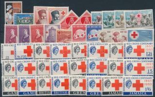 1939-1969 Red Cross 45 stamps, 1939-1969 Vöröskereszt motívum 45 db bélyeg, közte teljes sorok stecklapon