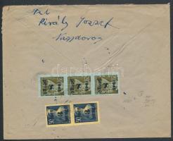 Inflation cover, (3. díjszabás) Ajánlott távolsági levél Kisegítő 2x3P/50f + 3x8P/20f bérmentesítéssel, a ragjegyen a helységnév kézzel írott