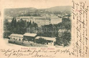 1898 Fiume, Academia di marina / Marine Akademie / Naval academy, railway station, train