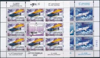 Air Transport mini sheet set, 75 éves a légi közlekedés kisívsor