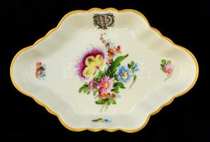 Herendi OTP-s virág mintás tálka, kézzel festett, jelzett, hibátlan, 12,5x8,5 cm