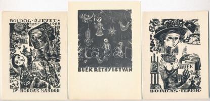 Bordás Ferenc (1911-1982): Újévi üdvözle (5db)t, fametszet, papír, jelzett a dúcon 8×7-10×7 cm