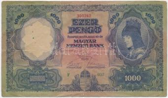 1927. 1000P F 037 300242 egy-egy függőleges és vízszintes hajtás, két nagyobb átlós hajtás a bankjegy jobb felső oldalán, valamint egy kisebb az egyik szakadás mellett, négy darab (2mm, 2mm, 5mm, 8mm) szakadás T:III RRR! Hungary 1927. 1000 Pengő F 037 300242 with one vertical and one horizontal folds and two diagonal folds at the upper-right side, one small diagonal fold beside one of the tears, with four (2mm, 2mm, 5mm, 8mm) tears C:F RRR! Adamo P20, Krause 94