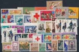 1943-1989 Red Cross 14 sets + 52 stamps, Vöröskereszt motívum 1943-1989 14 klf sor + 52 klf önálló érték 2 db stecklapon