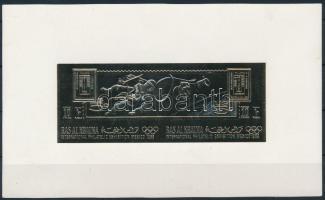 Űrkutatás; Bélyegkiállítás aranyfóliás blokk Space research; Stamp Exhibition gold foil block