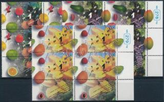 Fruits set in blocks of 4, Gyümölcsök sor 4-es tömbökben, benne 2-2 érték tabos