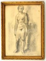 Ágh jelzéssel: Női akt. Szén, papír, üvegezett keretben, 29×21 cm