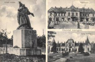 Abony, Hősök szobra, Városháza, Ajtay kastély, Balthesné kiadása + Portó (EK)