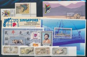 1991-1997 4 block + 3 set + 8 stamp, 1991-1997 4 klf blokk + 3 klf sor + 8 klf önálló érték 2 db stecklapon