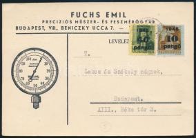 (5. díjszabás) Céges helyi levelezőlap Kisegítő 10P/80f + 40P/8f bérmentesítéssel Inflation cover