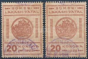 Sümeg 1922 MPIK 2 2 színárnyalat. (23.000)