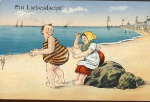 Ein Liebesdienst / Lifesaver, humorous card, Életmentő, humoros lap