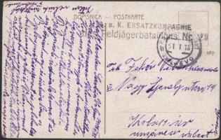 """Austria-Hungary Field Postcard """"K.u.k. ERSATZKOMPAGNIE des Feldjägerbataillons"""" + """"EP VALJEVO b"""", Tábori posta képeslap """"K.u.k. ERSATZKOMPAGNIE des Feldjägerbataillons"""" + """"EP VALJEVO b"""""""
