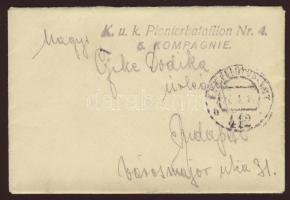 1918 Tábori posta levél / Field post cover K.u.k. Pionierbataillon Nr 4. 5. Kompagnie + FP 412