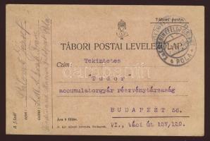1916 Tábori lap haditengerészeti postával S.M.S. ERZH. FRANZ FERDINAND