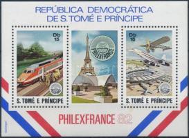 Philex france bélyegkiállítás mozdonyok, repülők  blokk Philex France Stamp Exhibition locomotives, planes block