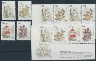 Kerti virágok sor +  bélyegfüzetlapok Garden flowers set + stamp-booklet sheets