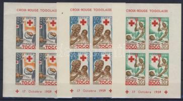 1959 Vöröskereszt vágott blokksor Mi block 2-4 imperforated