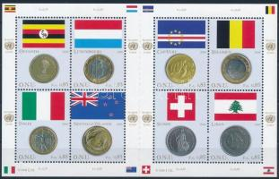 Flags and coins of the members mini sheet, Tagállamok zászlói és pénzérméi kisív
