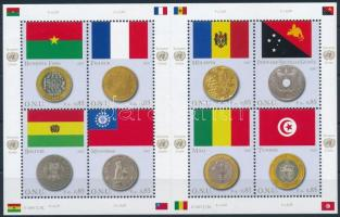 Flags and coins of the members mini sheet, A tagállamok zászlói és érméi kisív