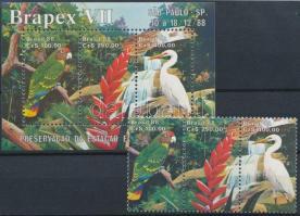 Bélyegkiállítás blokkból kitépett hármascsík + blokk Stamp Exhibition stamp from block + block
