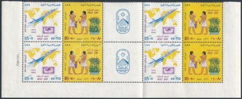 Post day airmail stamps in corner block of 10 Posta napja sor légi értékei ívsarki 10-es tömbben