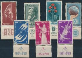 1951-1953 7 klf tabos bélyeg 1951-1953 7 stamps with tab