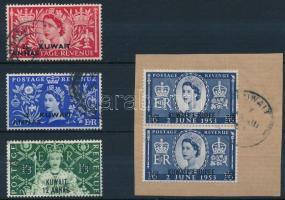 1953 Erzsébet királynő sor, a záróérték párban kivágáson Mi 104-106, 2 x 107
