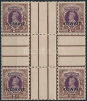 Forgalmi ívközéprészes négyestömb (a jobb felső bélyeg elválóban, bélyegragasztóval megerősítve) Definitive gutter block of 4 (1 stamp right above aparted, strenghtened with hinge)