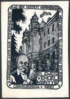 Torró Vilmos (1935-2001): A Csíkszeredai Katolikus Fiúgimnázium 1940-ben végzett növedékeinek negyvenéves találkozójának emlékére. Linó, papír, jelzett, 13×9 cm