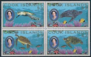 Forgalmi, teknősök  négyestömb Definitive, turtles block of 4