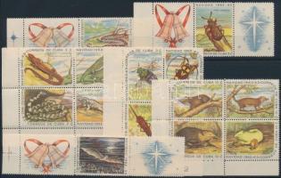Christmas - Animal set 3 corner blocks of 4 + 3 stamps with coupon, Karácsony - Állat sor 3 ívsarki négyestömbben + 3 szelvényes bélyeg