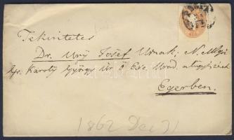 1862 10kr levélen PESTH-ERLAU